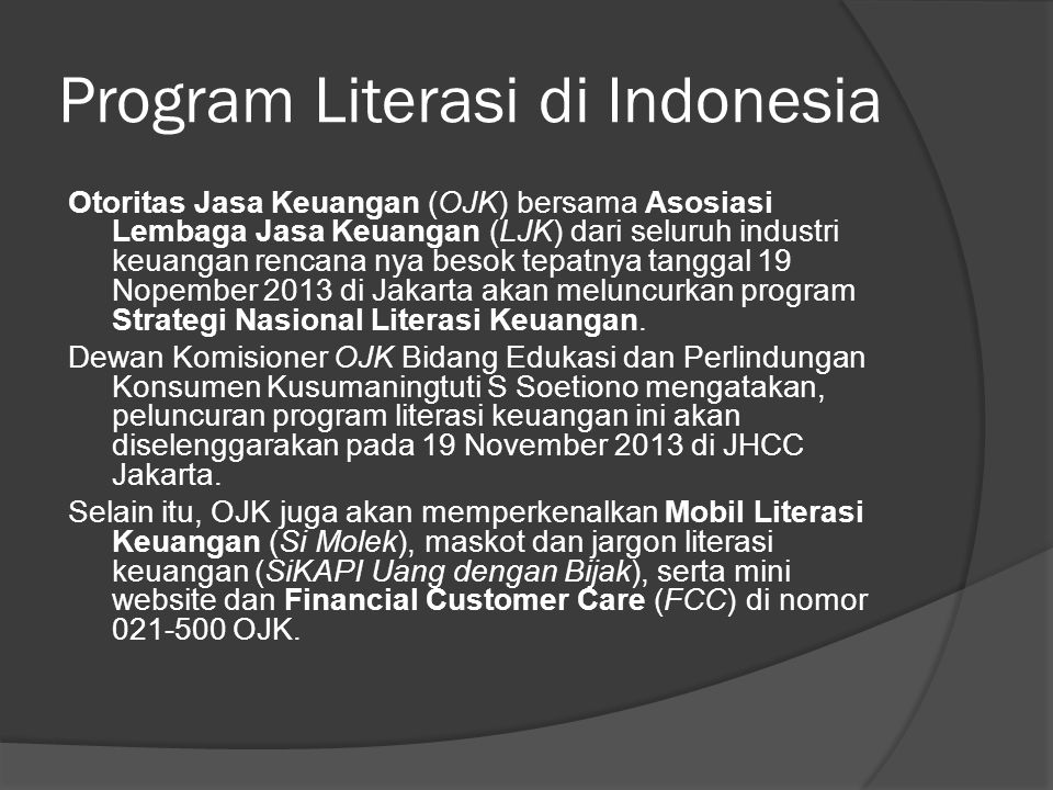 Program Literasi di Indonesia