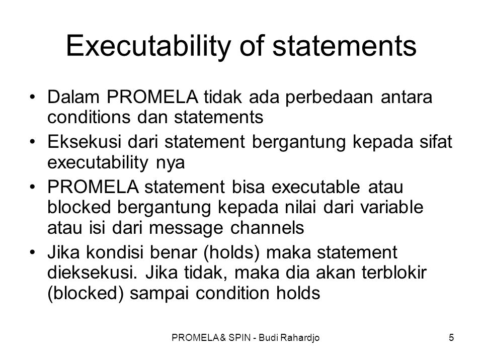 Executability of statements
