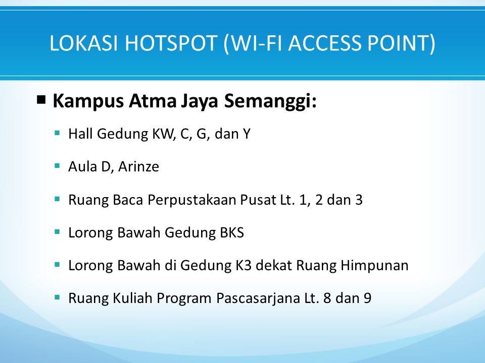LOKASI HOTSPOT (WI-FI ACCESS POINT)
