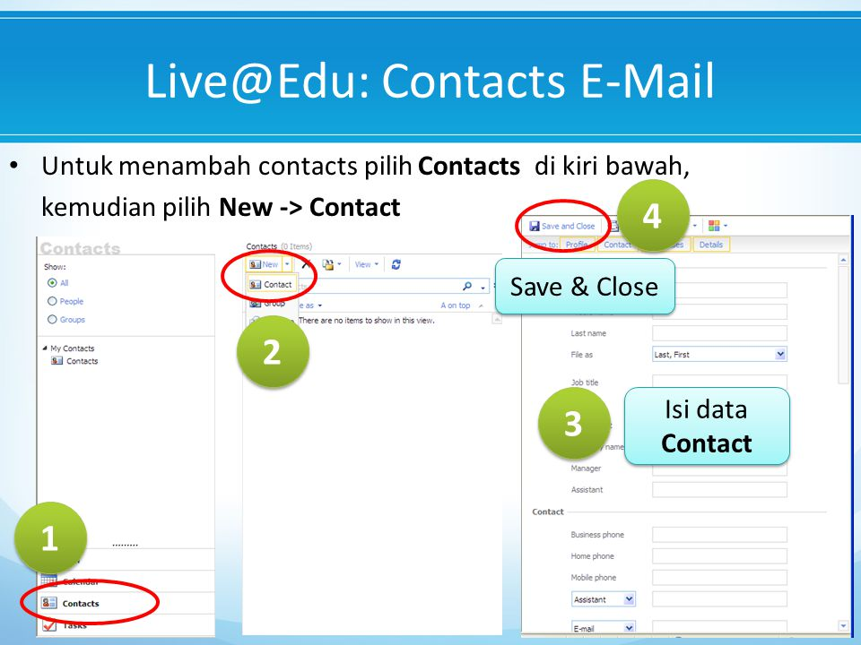 Live@Edu: Contacts E-Mail