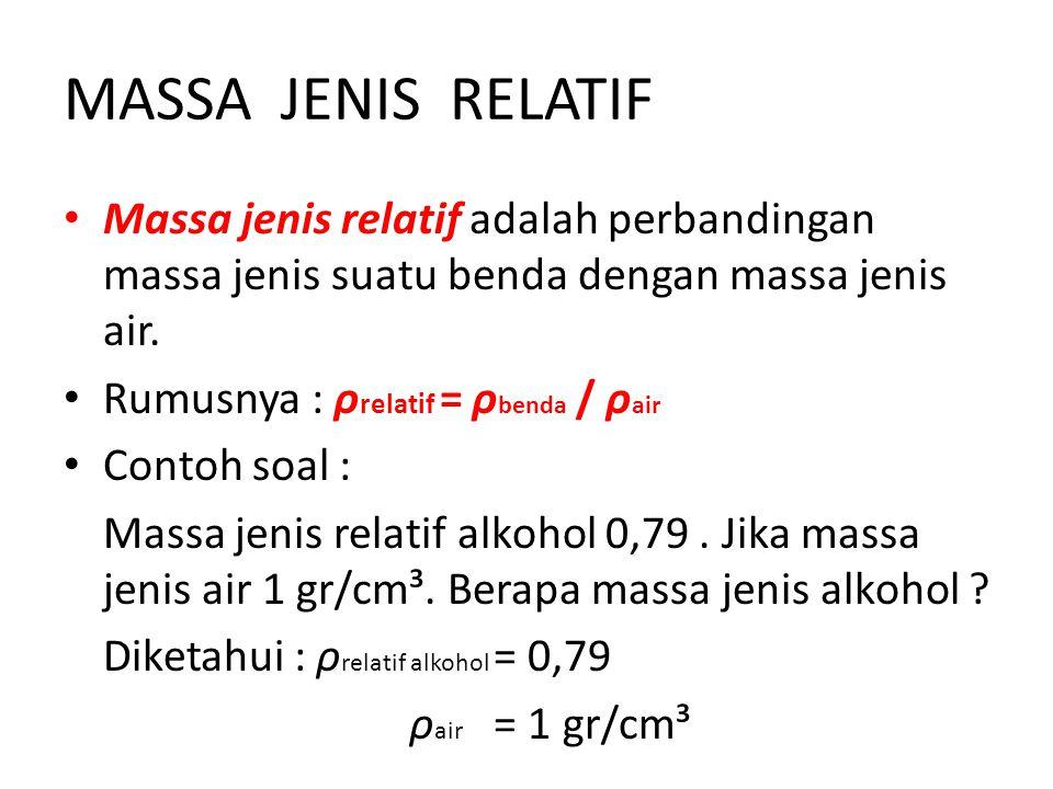 MASSA+JENIS+RELATIF+Massa+jenis+relatif+adalah+perbandingan+massa+jenis+suatu+benda+dengan+massa+jenis+air. - Ppt Massa Jenis Smp Kelas 7