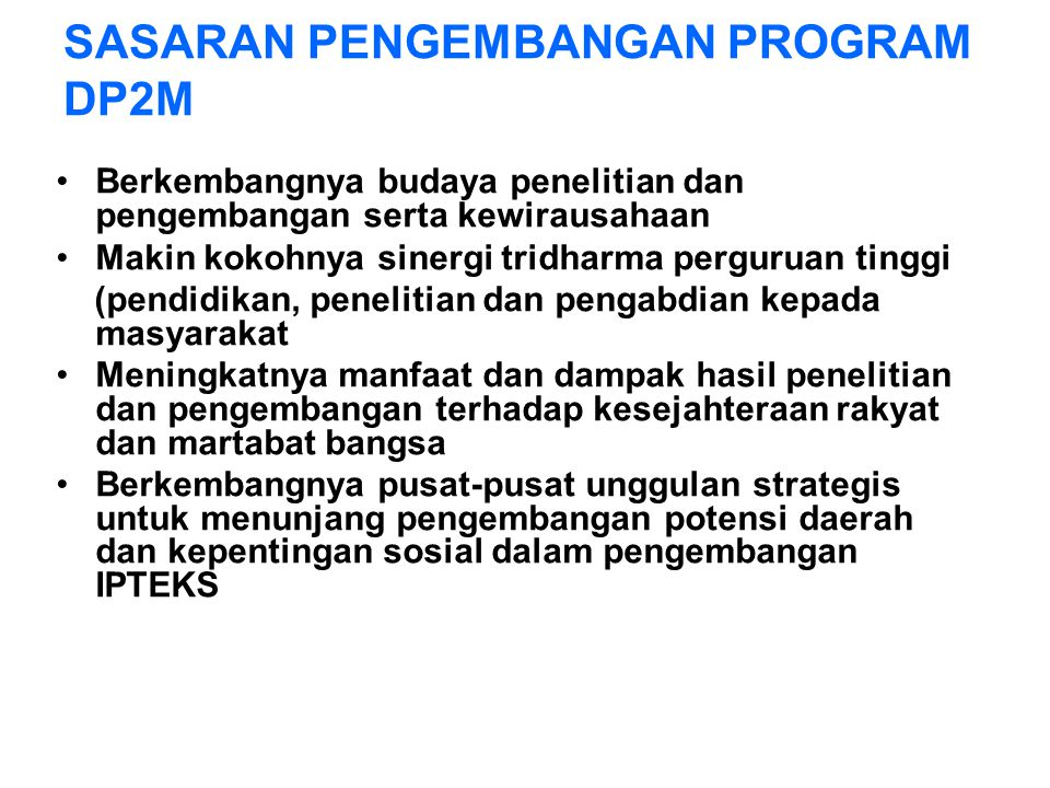 SASARAN PENGEMBANGAN PROGRAM DP2M