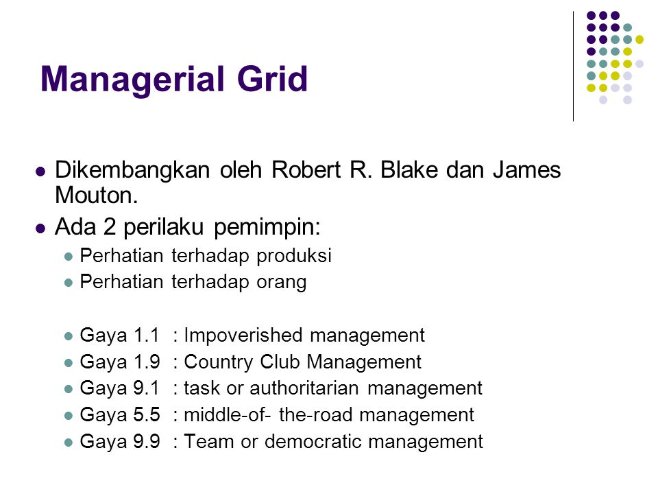 Managerial Grid Dikembangkan oleh Robert R. Blake dan James Mouton.