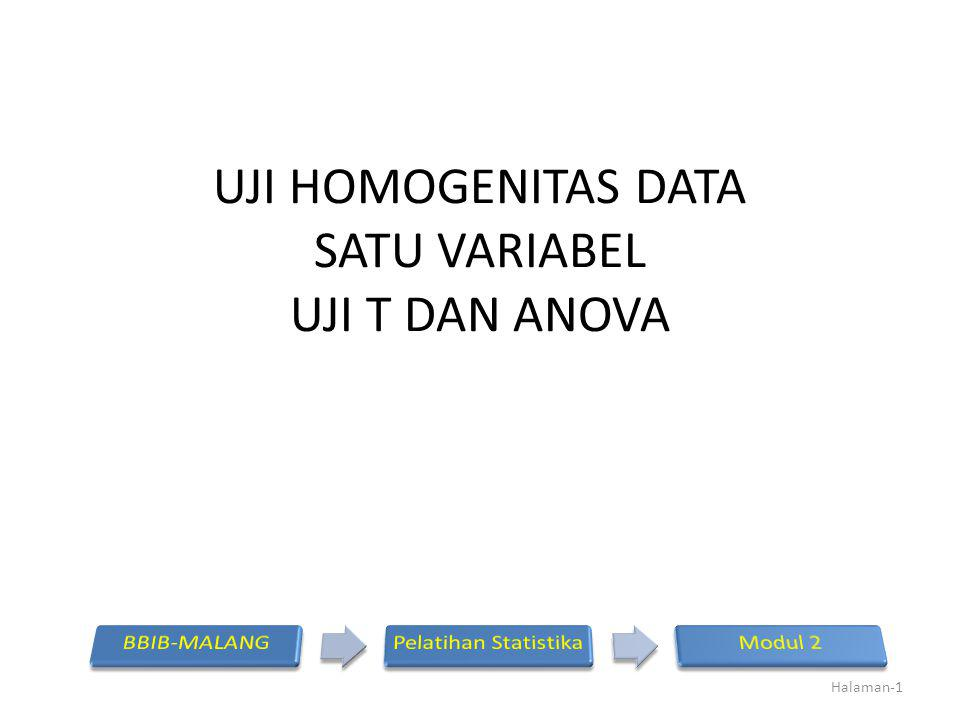 UJI HOMOGENITAS DATA SATU VARIABEL UJI T DAN ANOVA