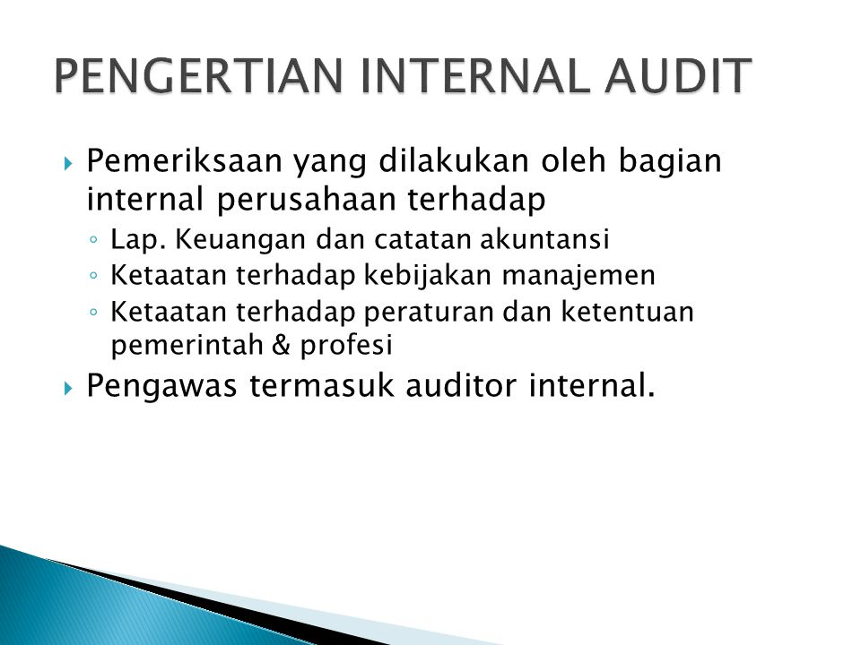 PENGERTIAN INTERNAL AUDIT