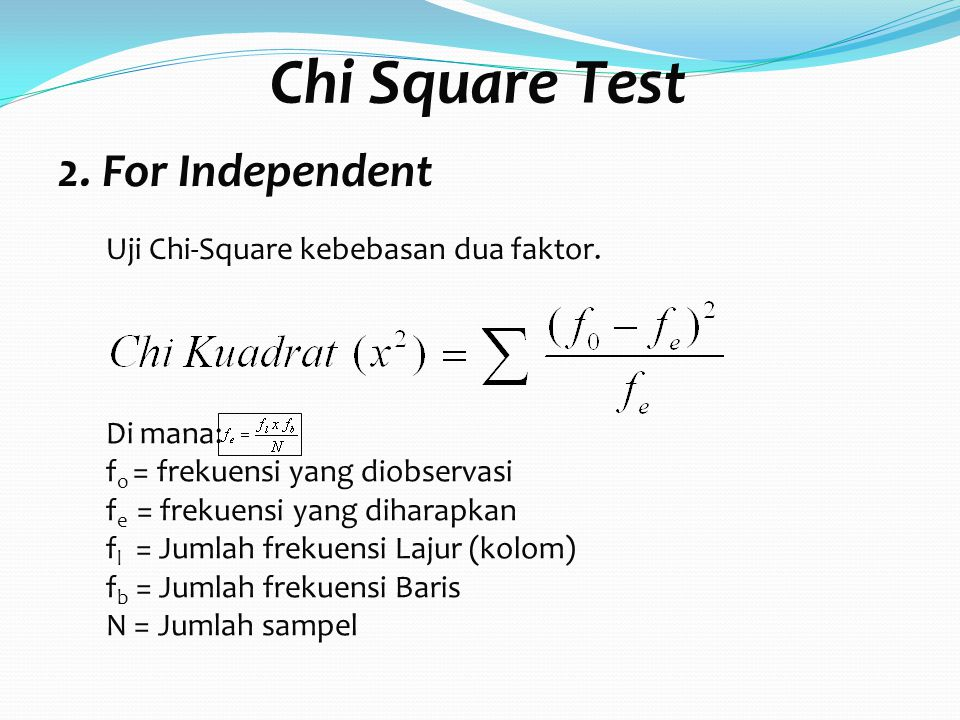 Chi Square Test 2. For Independent