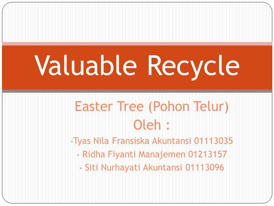 Valuable Recycle Easter Tree (Pohon Telur) Oleh :