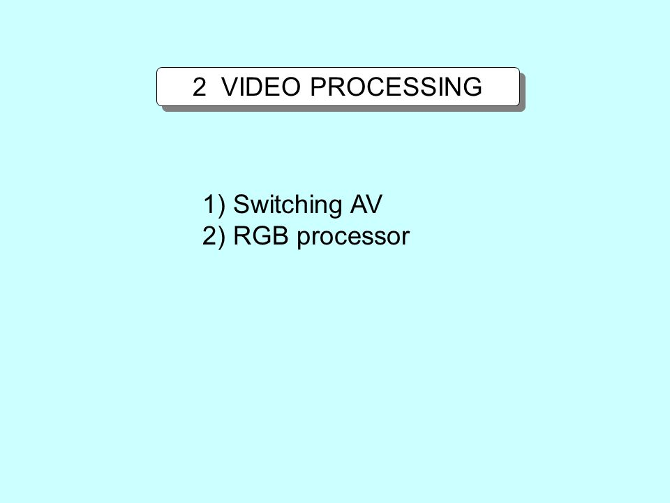 2 VIDEO PROCESSING 1) Switching AV 2) RGB processor