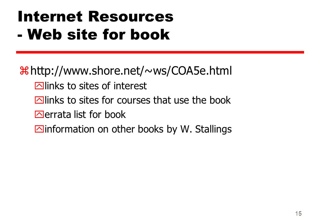 Internet Resources - Web site for book