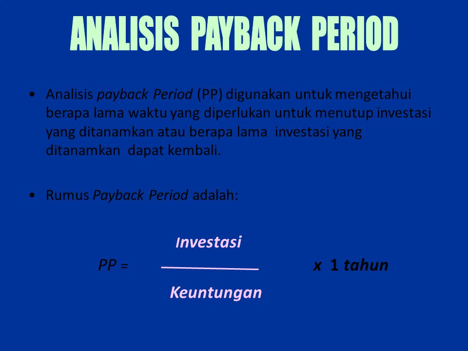ANALISIS PAYBACK PERIOD