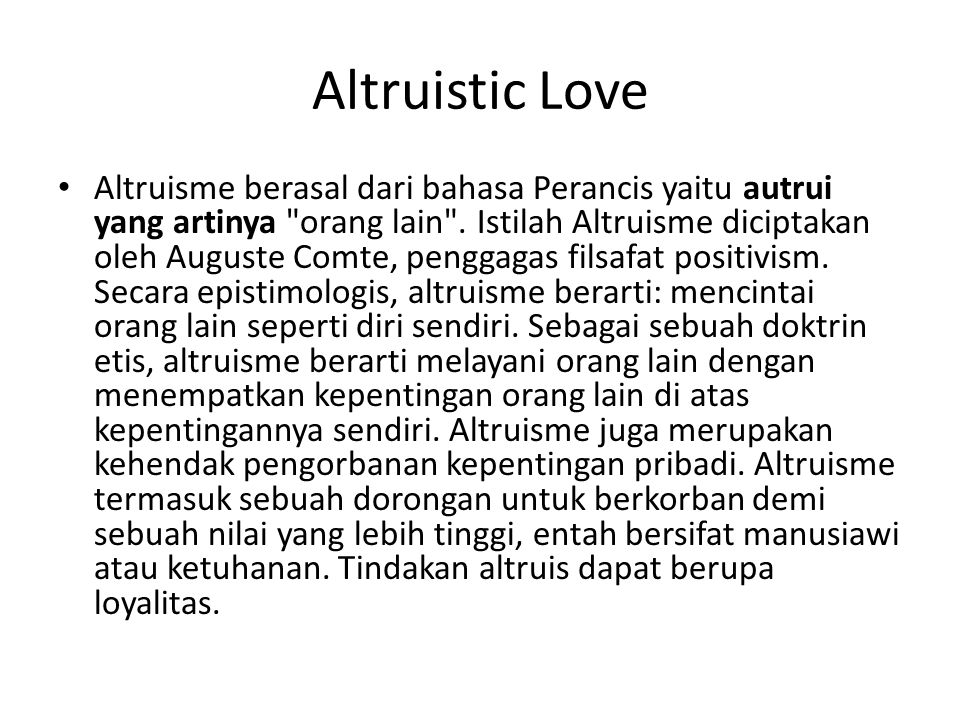 Altruistic Love