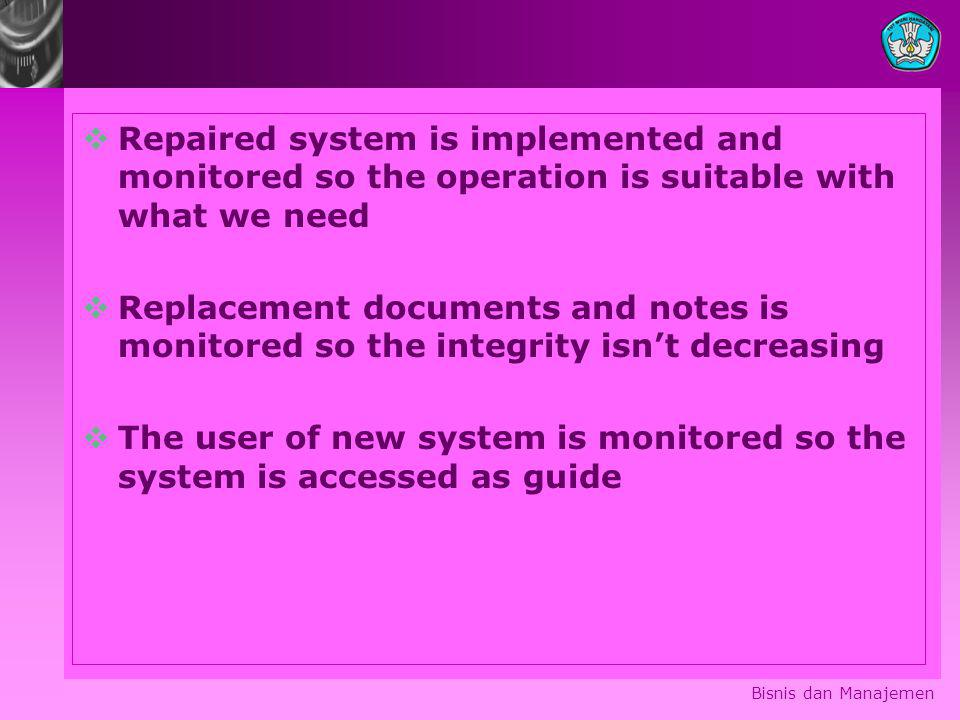 The user of new system is monitored so the system is accessed as guide