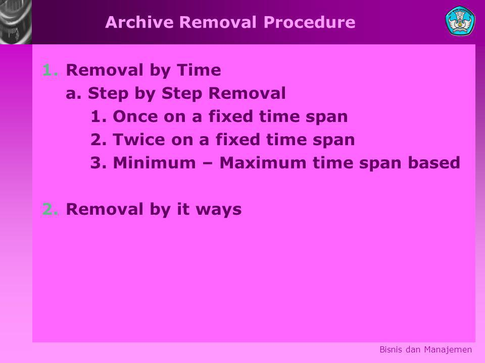 Archive Removal Procedure