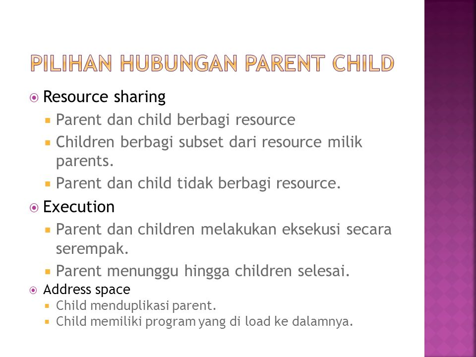 Pilihan hubungan parent child