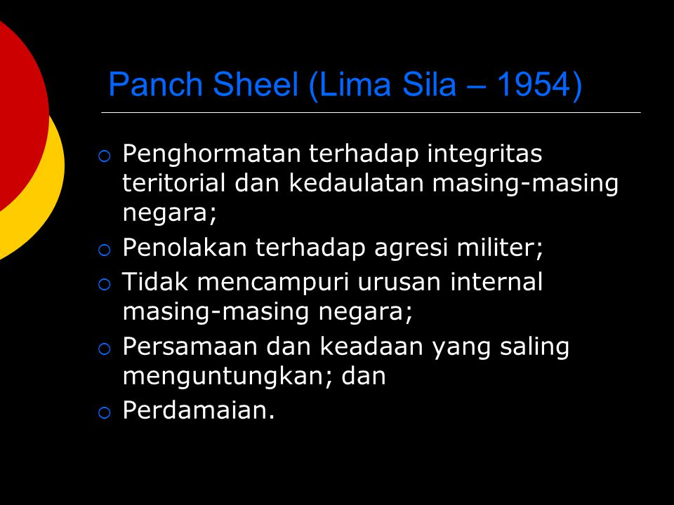 Panch Sheel (Lima Sila – 1954)