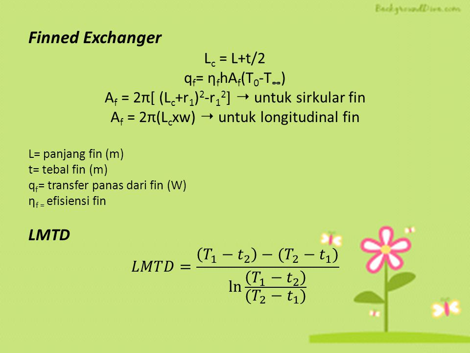 Finned Exchanger LMTD Lc = L+t/2 qf= ηfhAf(T0-T∞)