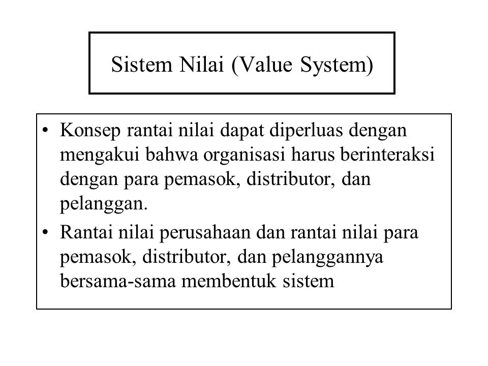 Sistem Nilai (Value System)