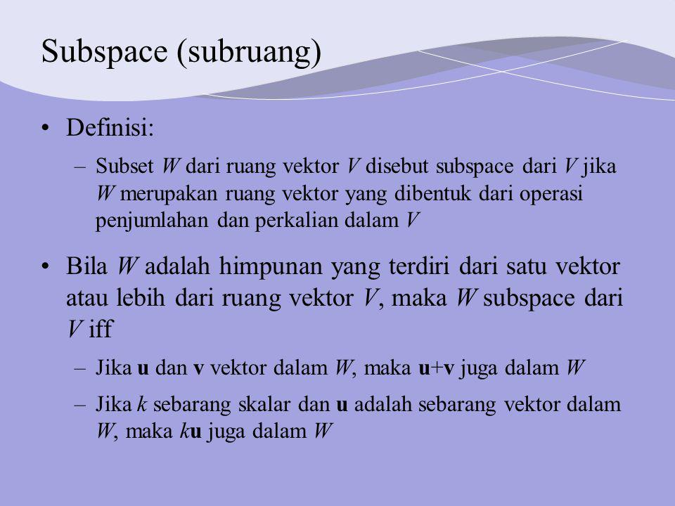 Subspace (subruang) Definisi: