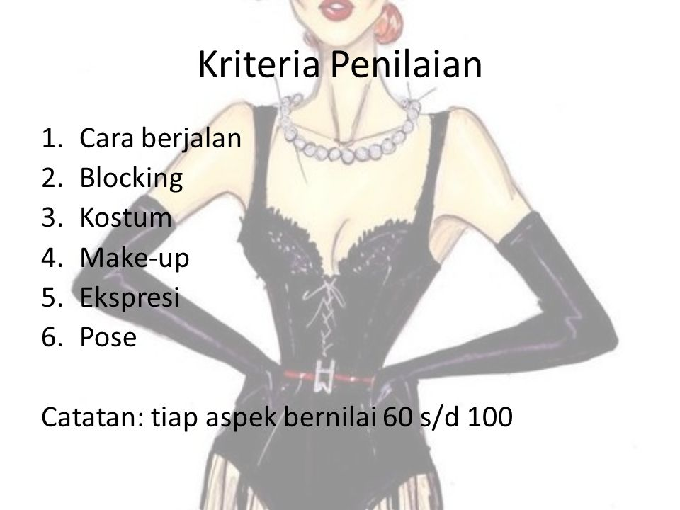Kriteria Penilaian Cara berjalan Blocking Kostum Make-up Ekspresi Pose