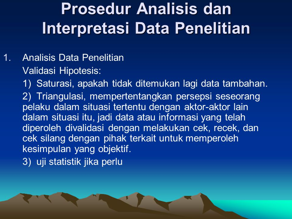 Prosedur Analisis dan Interpretasi Data Penelitian