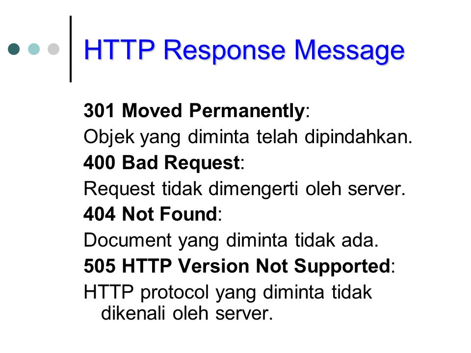 HTTP Response Message 301 Moved Permanently: