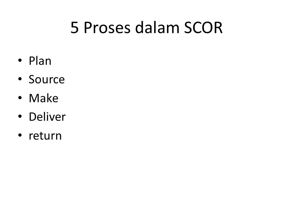5 Proses dalam SCOR Plan Source Make Deliver return