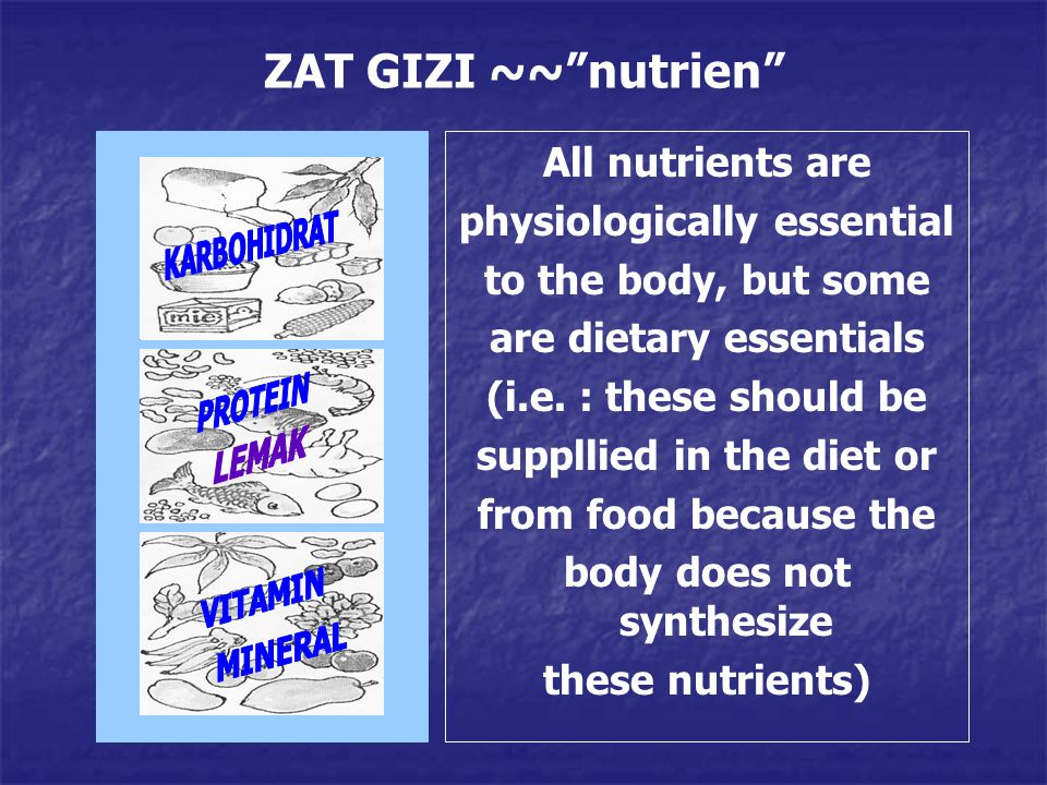 ZAT GIZI ~~ nutrien All nutrients are physiologically essential