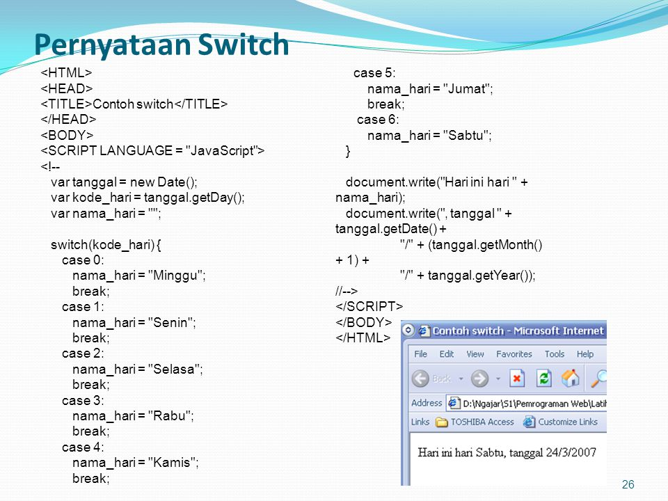 Pernyataan Switch <HTML> <HEAD>