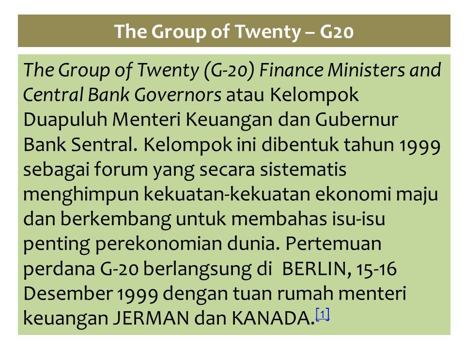 The Group of Twenty – G20