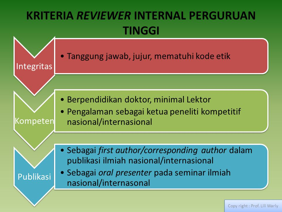 KRITERIA REVIEWER INTERNAL PERGURUAN TINGGI