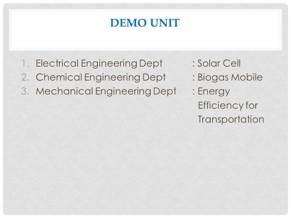 DEMO UNIT Electrical Engineering Dept : Solar Cell