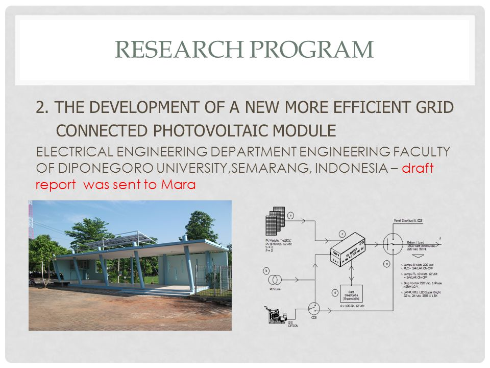 Research program 2. THE DEVELOPMENT OF A NEW MORE EFFICIENT GRID