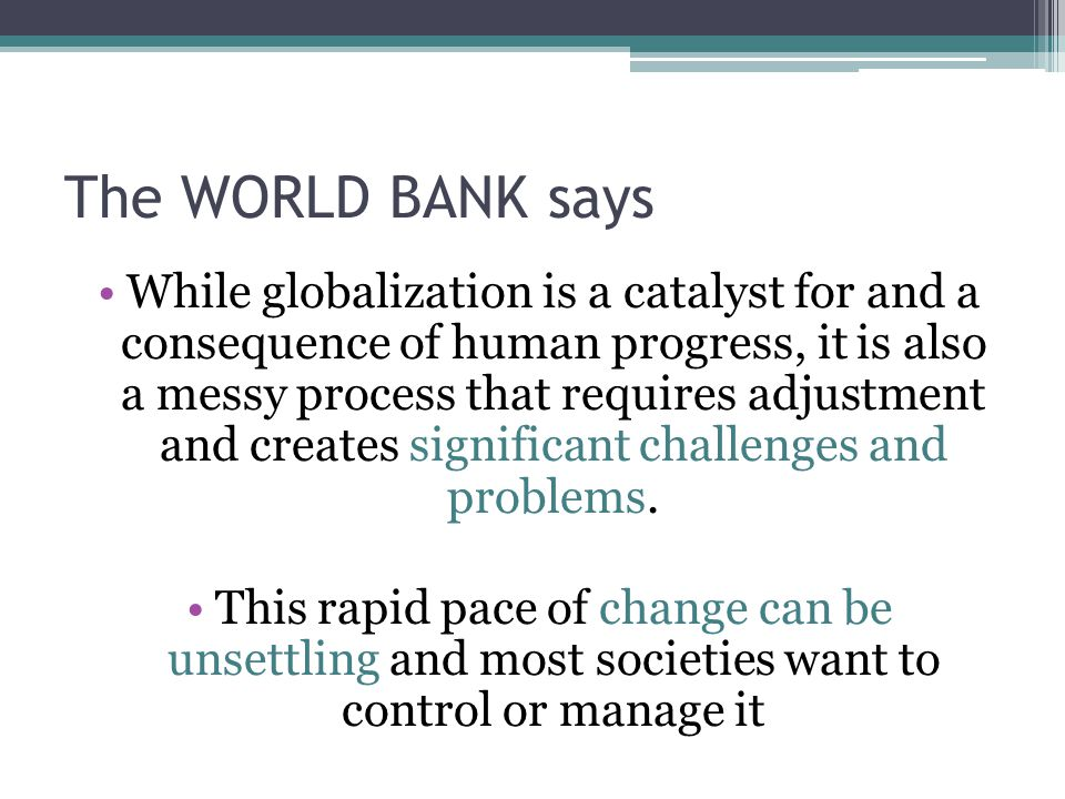 The WORLD BANK says