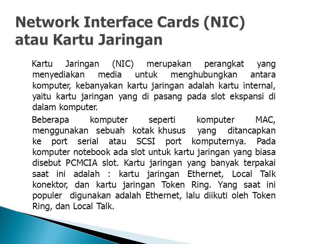 Network Interface Cards (NIC) atau Kartu Jaringan