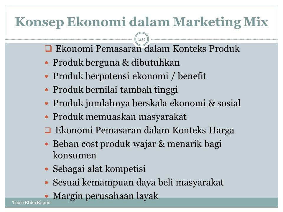 Konsep Ekonomi dalam Marketing Mix