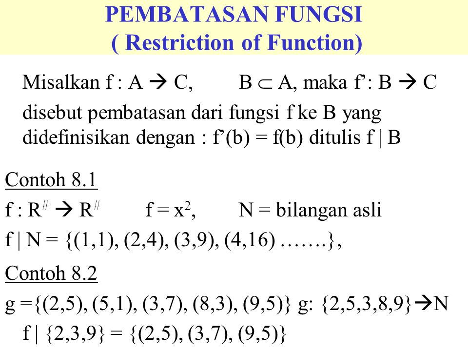 PEMBATASAN FUNGSI ( Restriction of Function)