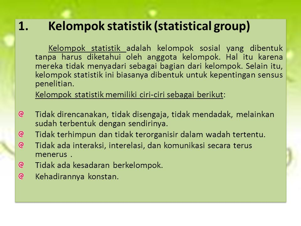 Kelompok statistik (statistical group)