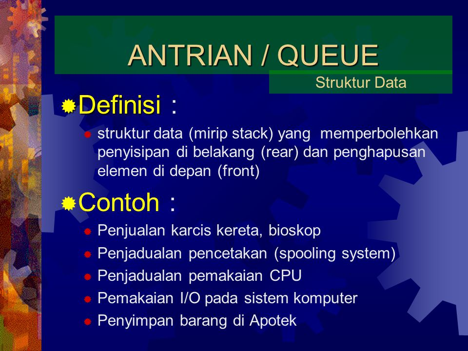 ANTRIAN / QUEUE Definisi : Contoh : Struktur Data