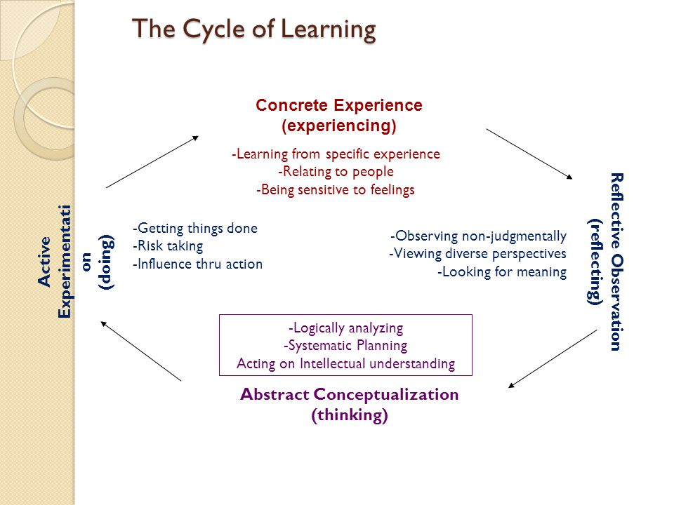 The Cycle of Learning Concrete Experience (experiencing)