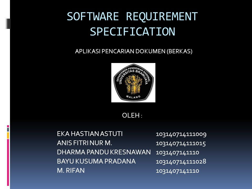 SOFTWARE REQUIREMENT SPECIFICATION