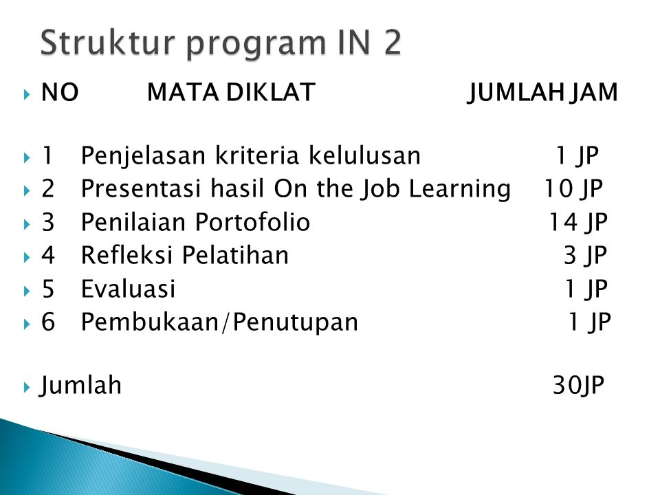 Struktur program IN 2 NO MATA DIKLAT JUMLAH JAM