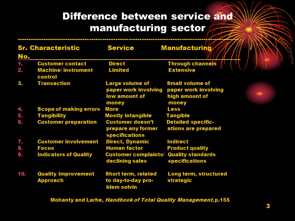 Difference between service and manufacturing sector