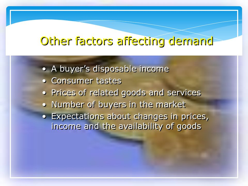 Other factors affecting demand