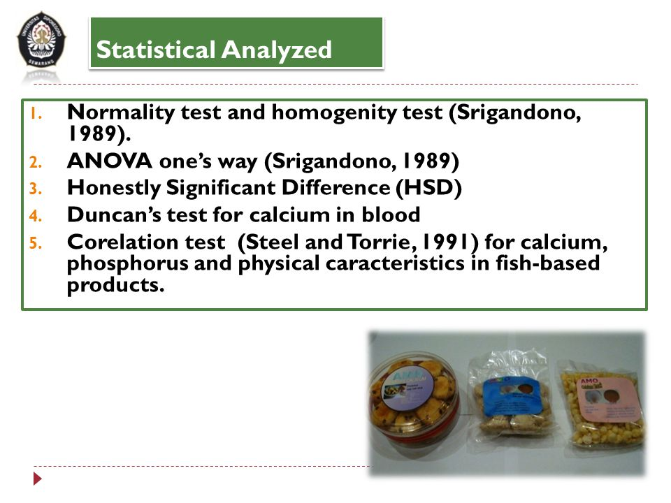 Statistical Analyzed Normality test and homogenity test (Srigandono, 1989). ANOVA one's way (Srigandono, 1989)