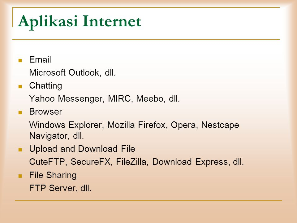 Aplikasi Internet Email Microsoft Outlook, dll. Chatting