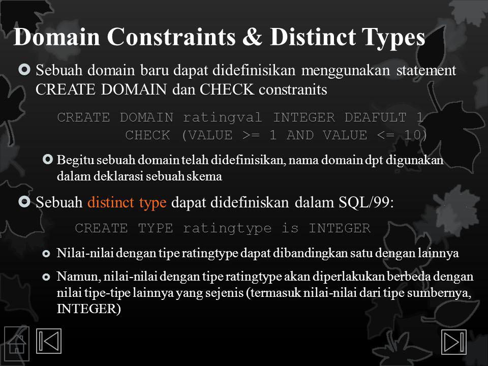 Domain Constraints & Distinct Types