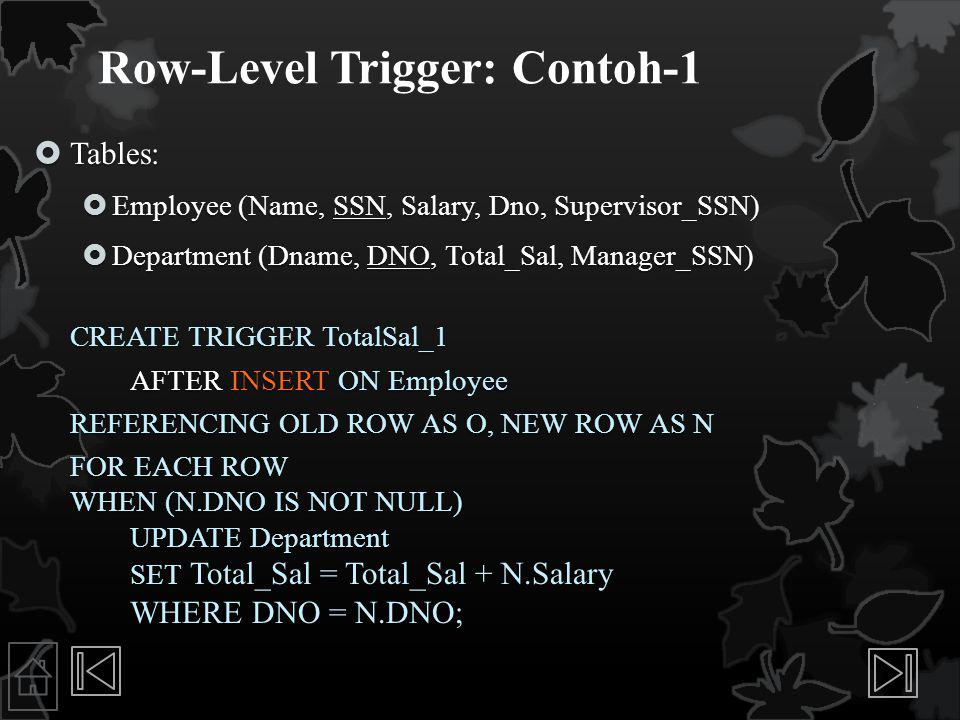 Row-Level Trigger: Contoh-1