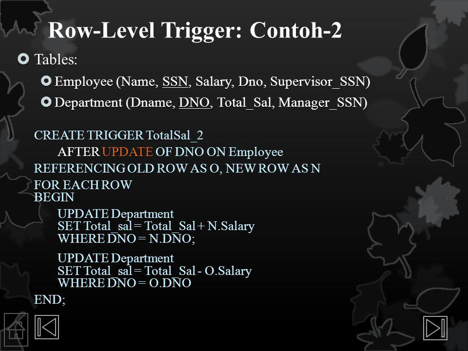 Row-Level Trigger: Contoh-2