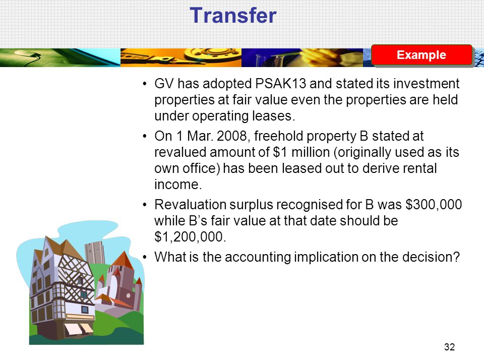 Transfer Example. GV has adopted PSAK13 and stated its investment properties at fair value even the properties are held under operating leases.