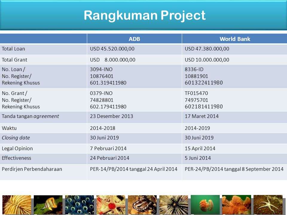 Rangkuman Project ADB World Bank Total Loan USD 45.520.000,00